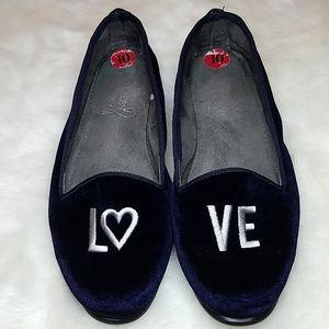 Navy blue velvet like Betunia LOVE Flats shoes